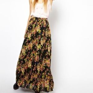 ASOS floral printed pleated maxi skirt